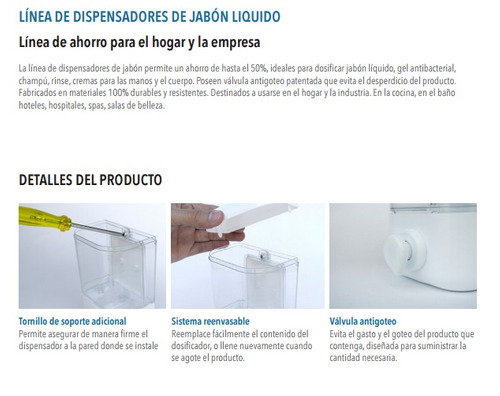 dispensador de jabón liquido por docena x 12 + envío gratis