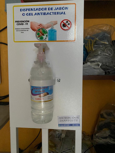 dispensador de jabon y gel antibacterial