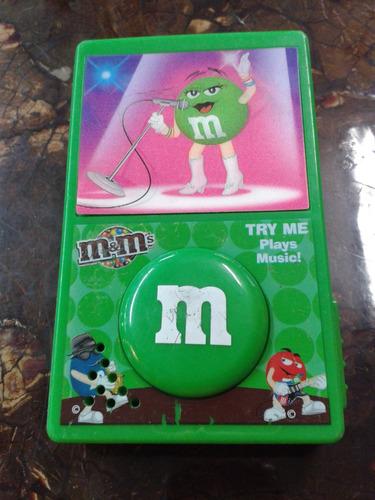 dispensador de m&m con caja musical de colección con sonido