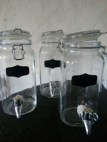 dispensador de vidrio con canilla de seguridad