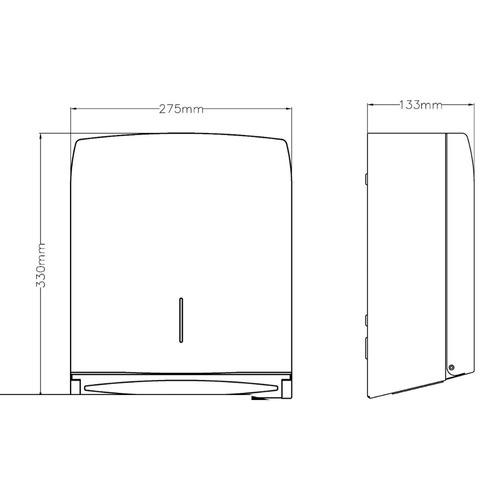 dispensador en acero inoxidable para 400 a 500 toallas