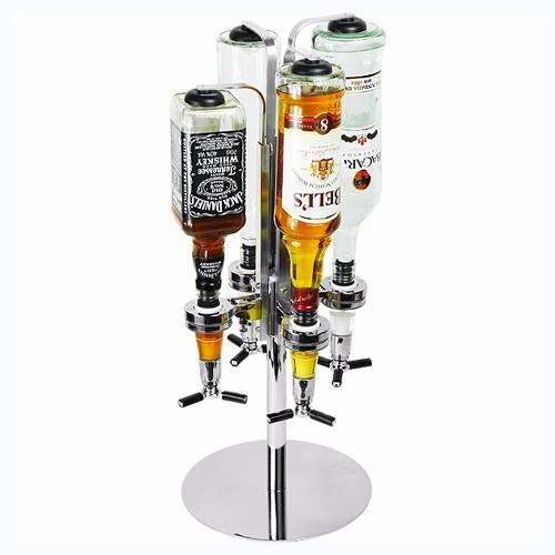 dispensador metalico de licor vino tragos 4 botellas bar