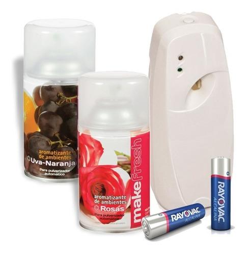 dispenser aromatizador + 2 fragancias make fresh + 2 pilas