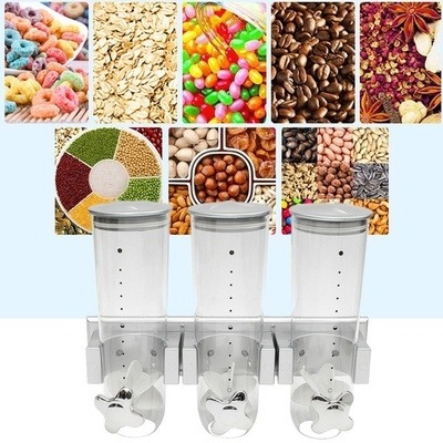 dispenser de parede triplo porta alimentos cereais sucrilhos