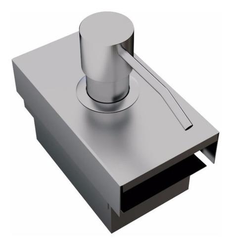 dispenser dosador inox para detergente calha úmida com tampa para porta esponja