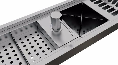 dispenser dosador inox para detergente calha úmida kitchen