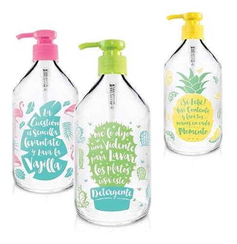 dispenser dosificador porta detergente frase color vidrio