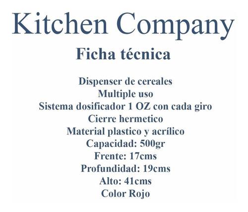 dispenser para cereales zevro gat103 rojo kitchen company
