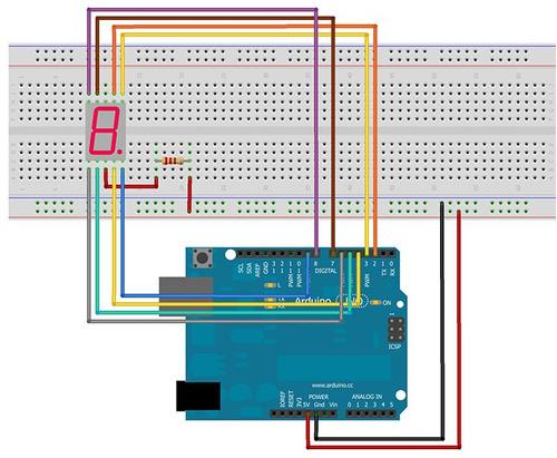 display 7 segmentos 1 digito catodo comun rojo arduino