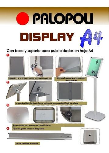 display exhibidor con pie tamaño a4, punto de venta palopoli