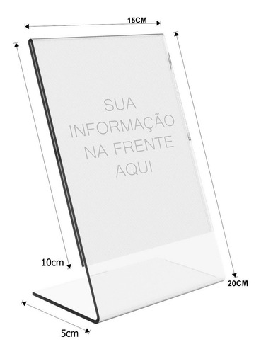 display expositor l tam. a5 (20x15) acrílico ps cristal 10un