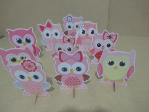 display festa corujas rosas, de mesa,decoração infantil,mdf