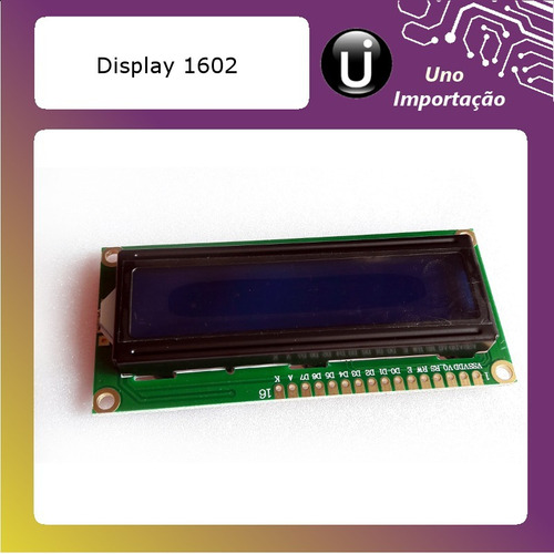 display lcd 16x02 16x2 1602 fundo azul arduino pic