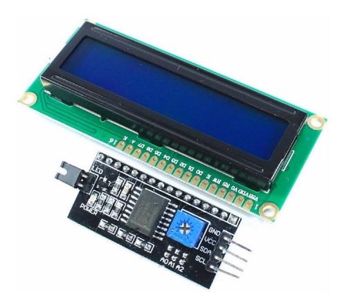 display lcd 16x2 1602 backlight azul + modulo i2c arduino pi