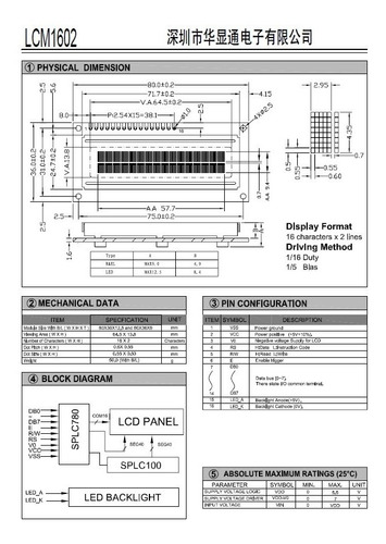 display lcd 16x2 c/back fundo azul lcm1602b-nsw-bbw