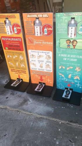 display para álcool em gel - acionamento com os pés