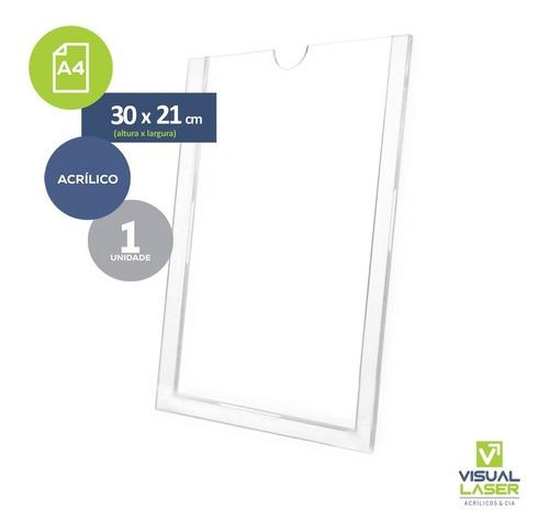 display parede porta folha a4 acrílico virgem c fita adesiva