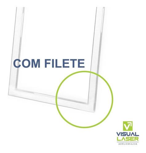 display porta folha acrílico a5 15x21cm parede com fita