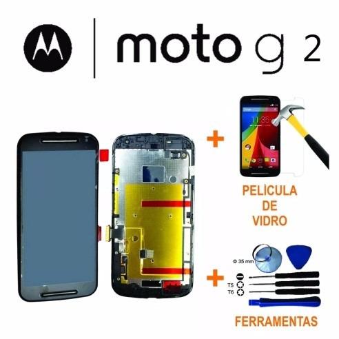 display tela moto g2 + película vidro + ferramentas