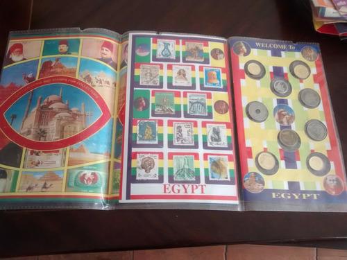 displey de egipto 9  monedas y 13  sellos - (198