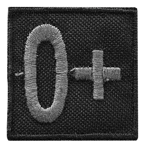 distintivo bordado grupo sanguíneo negro baja visibilidad