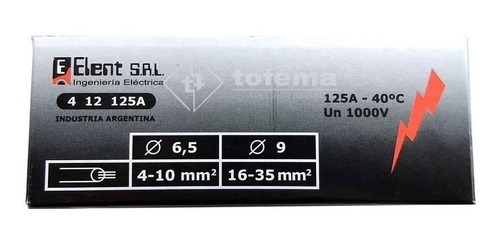distribuidor bornera tetrapolar 125a- elent - tofema