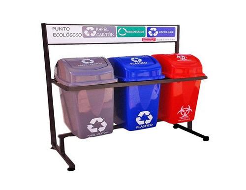 distribuidor canecas plásticas, puntos ecológicos y camillas