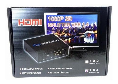 distribuidor hdmi spliter 1x4 divisor full hd 1.4 3d 1080p