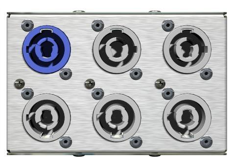 distribuidor powercon  5 saidas + garra pentacustica psg5pc