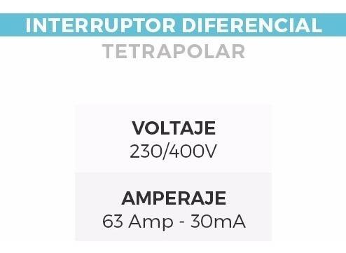 disyuntor cortacorriente diferencial tetrapolar 4 x 63 amp
