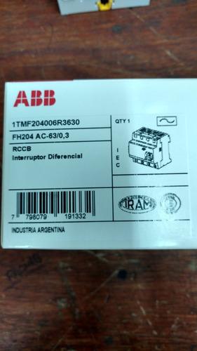 disyuntor diferencial abb 4x63 a 300 (0,3) ma