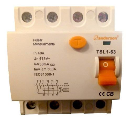 disyuntor diferencial interruptor tetrapolar 4x 40a 30ma