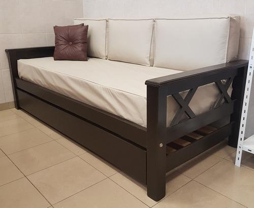 divan cama + carro + colchon + funda + 3 almohadones repaldo