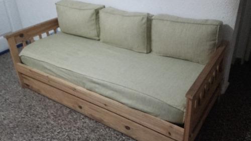 divan cama de 1pl c/ carro cama colchón, funda y almohadones