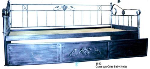 divan cama doble en hierro forjado