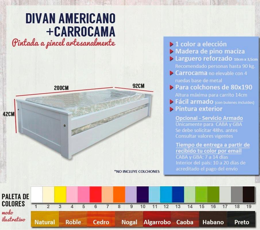 Diván Carrocama Blanco Madera Pino Macizo Pintado Cb Muebles ...