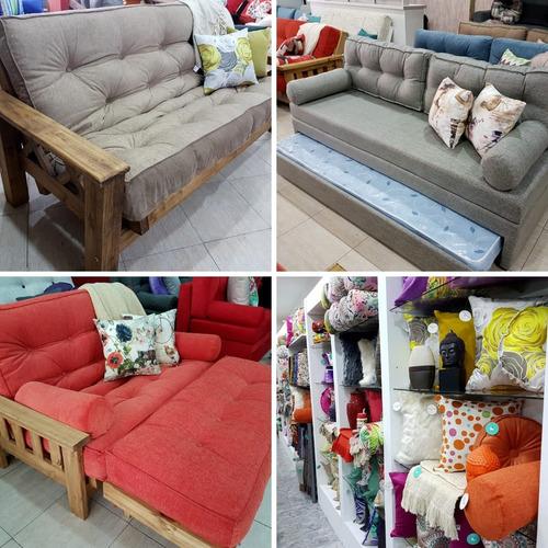 divan sillon cama guatambu + kit almohadones + 2 colchones