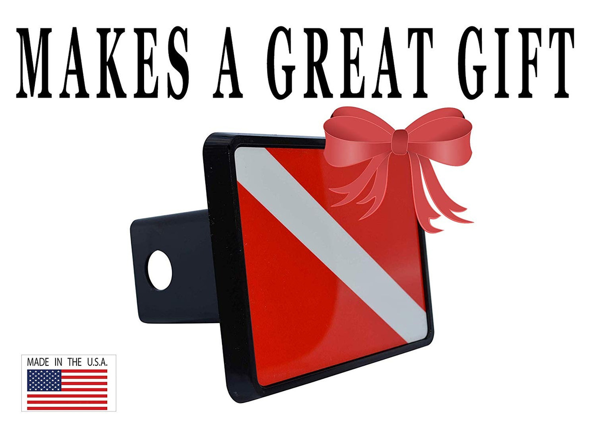 Rogue River Tactical Diver Down Flag Trailer Hitch Cover Plug Gift Idea Scuba Diving