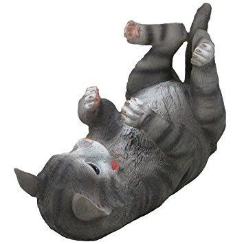 divertido gatito gris del gato del vino escultura titular d