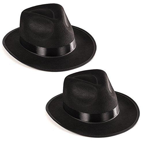 c651bc1a0eb34 Divertidos Sombreros De Fiesta Black Fedora Gangster Hat Cos ...