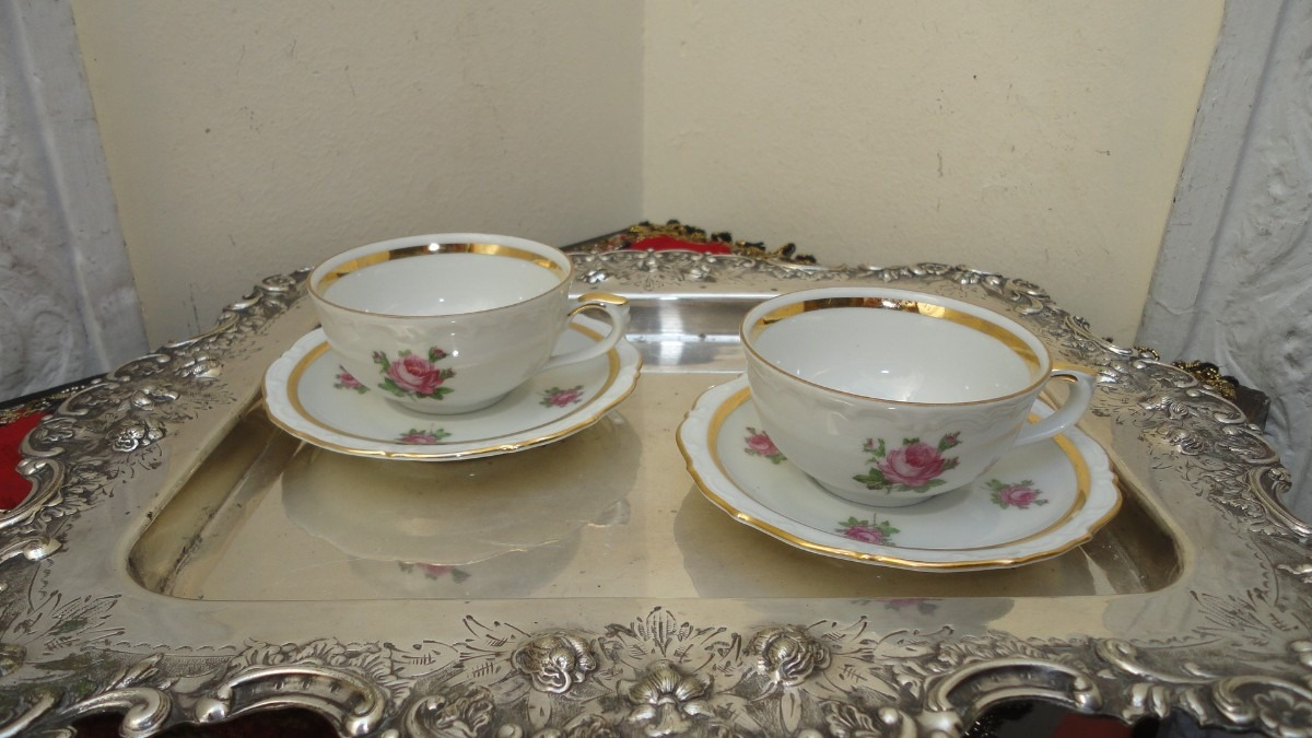 Divina taza cafe porcelana alemana antigua rococo veala for Tazas de porcelana