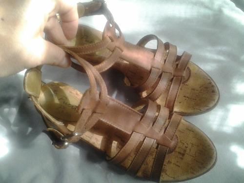 divinas sandalias gladiadoras cuero marrón chocolate 37 38