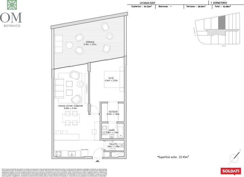 divino 2 amb con increible terraza,  en exclusiva torre om botánico- palermo