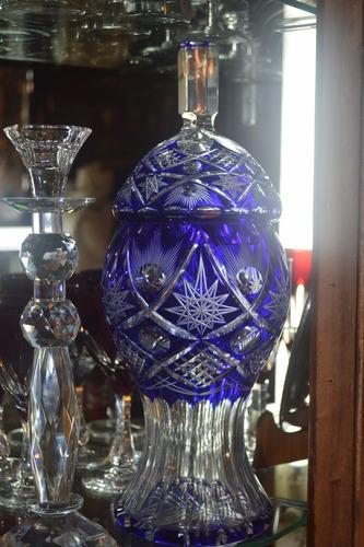 divino potiche o caramelera cristal encamisado azul