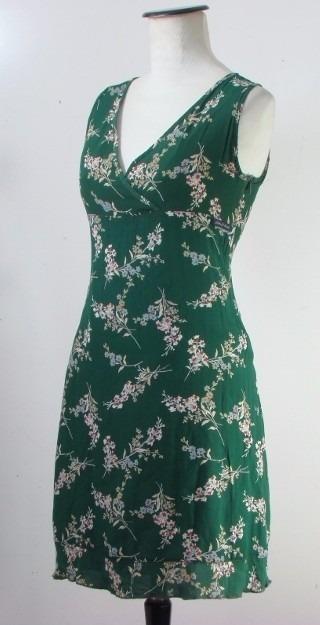 Vestido verde botella flores