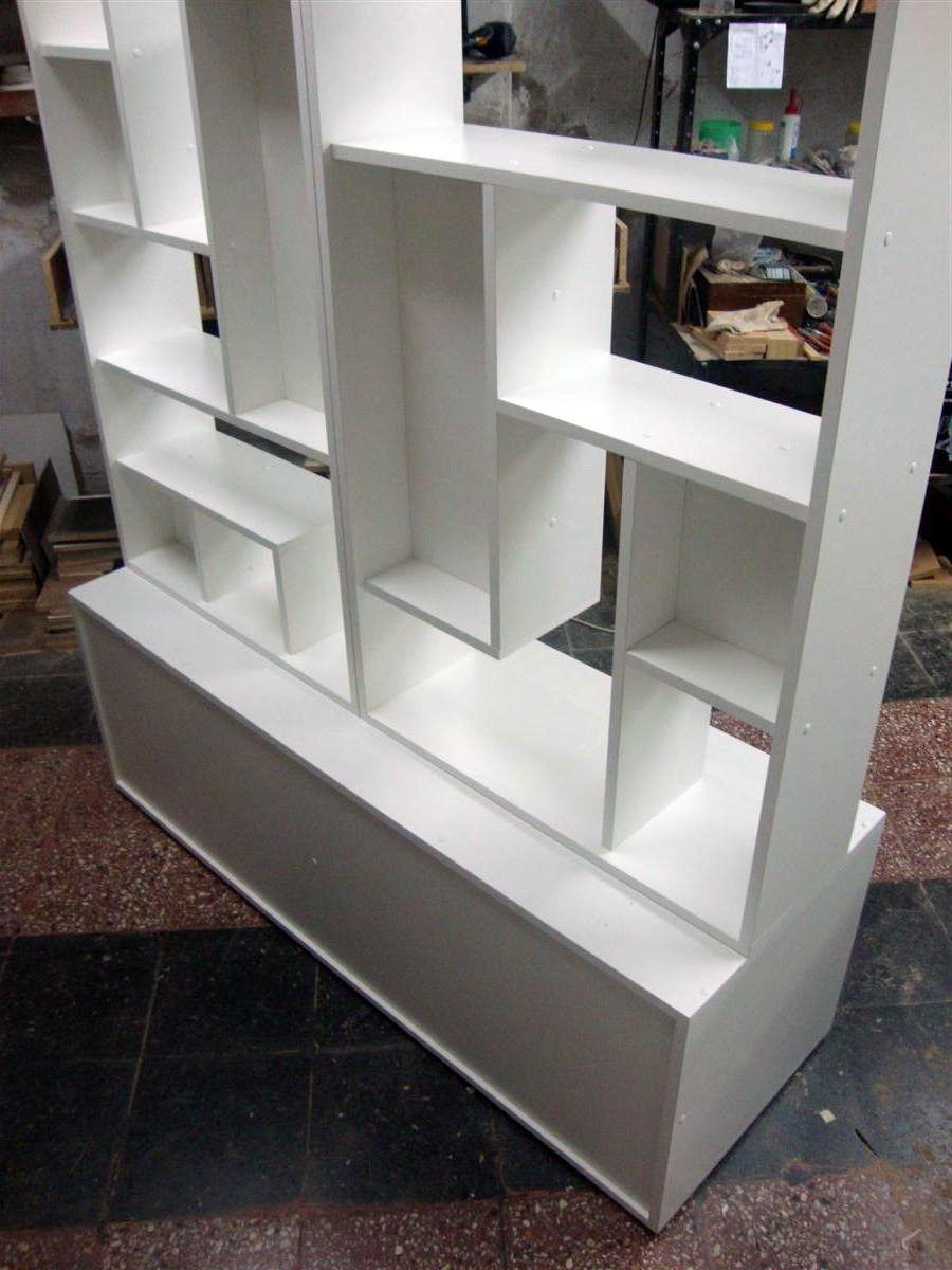Divisor Ambiente Baulera Biblioteca Monoambiente A Medida  # Muebles Separadores Para Monoambientes