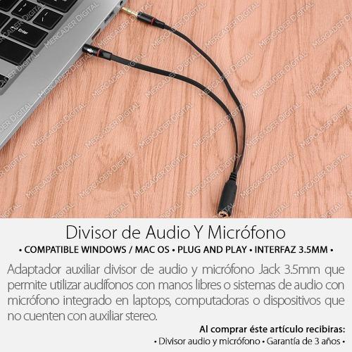 divisor auxiliar de audio y micrófono a doble jack 3.5mm pc