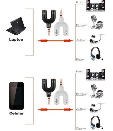 divisor de audio estéreo 3.5 mm para micrófono y audifonos