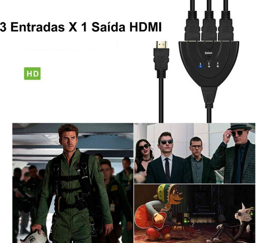 divisor hdmi hdcp splitter 1 entrada 3 saídas full hd 1x3 3d