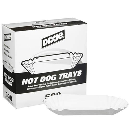 dixie 8 fluted hot dog tray 500ct